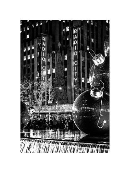 The Giant Christmas Ornaments on Sixth Avenue across from the Radio City Music Hall by Night-Philippe Hugonnard-Photographic Print