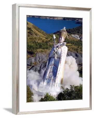 The Giant Statue Representing Mandarom Sect Founder Gilbert Bourdin-Str, Pool-Framed Photographic Print