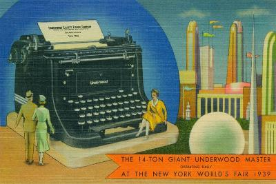 The Giant Underwood Master Typewriter and the New York World's Fair, 1939--Giclee Print