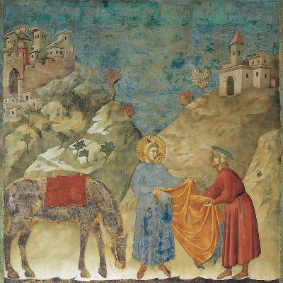 The Gift of the Mantle-Giotto di Bondone-Giclee Print