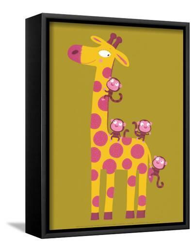 The Giraffe and the Monkeys-Nathalie Choux-Framed Canvas Print