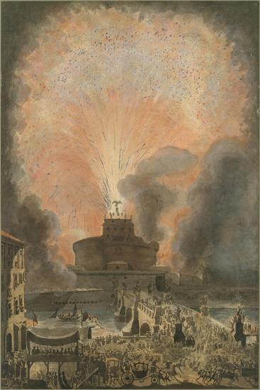 The Girandola at the Castel Sant'Angelo, c.1781-Louis Jean Desprez-Giclee Print
