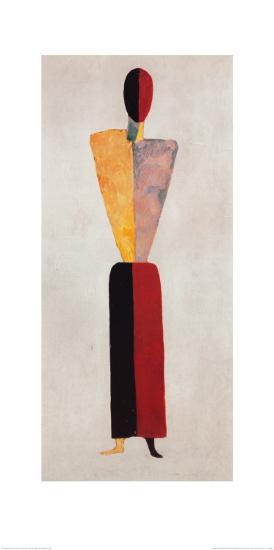 The Girl, Figure on White-Kasimir Malevich-Art Print