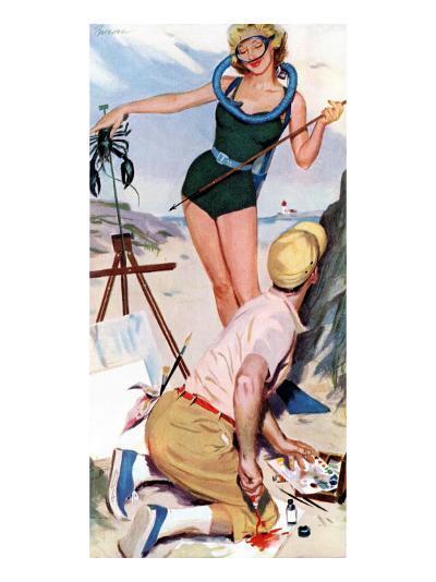 "The Girl From the Ocean Floor  - Saturday Evening Post ""Leading Ladies"", December 18, 1954 pg.24-Lynn Buckham-Giclee Print"