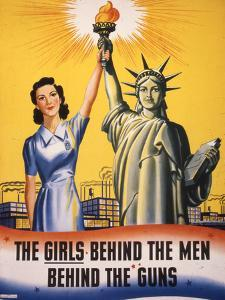 The Girls Behind the Men Behind the Guns…, WWII Poster
