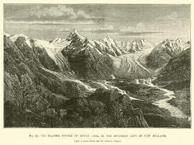 The Glacier System of Mount Cook, in the Southern Alps of New Zealand--Giclee Print
