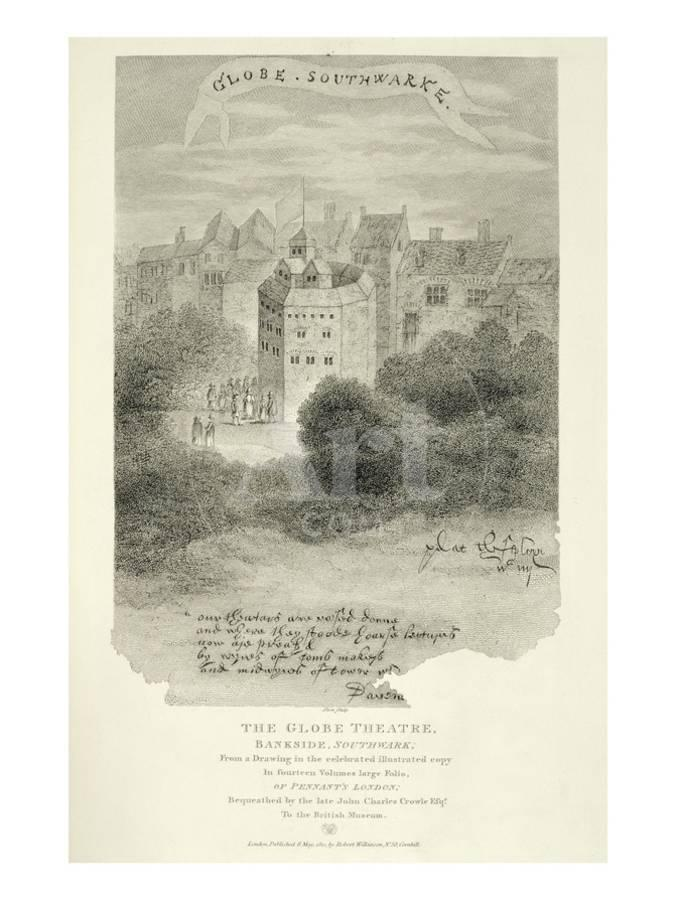 The Globe Theatre Bankside Southwark After A Drawing From Pennants London Published 1793 Giclee Print By English