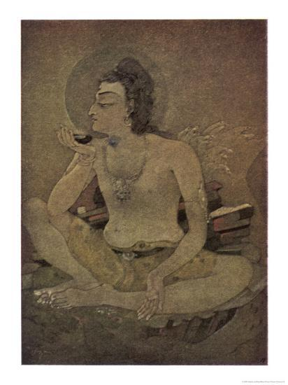 The God Shiva Saves Humanity by Drinking the Pois-Nanda Lal Bose-Giclee Print