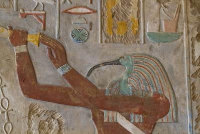 The God Thoth in a Relief Portrait at the Temple of Karnak-Michael Melford-Photographic Print