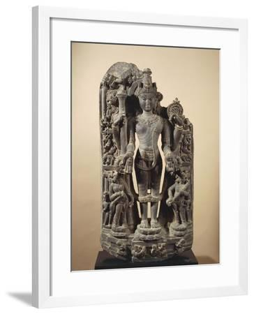 The Goddess Ganga, Personification of Ganges River, Grey Shale Statue--Framed Giclee Print