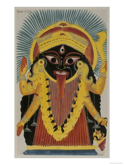 The Goddess Kali. Kalighat Style. Calcutta, India, 1845--Giclee Print