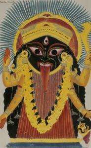 The Goddess Kali. Kalighat Style. Calcutta, India, 1845