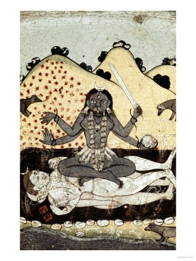 The Goddess Kali Seated in Intercourse with the Double Corpse of Shiva, 19th Century, Punjab--Giclee Print