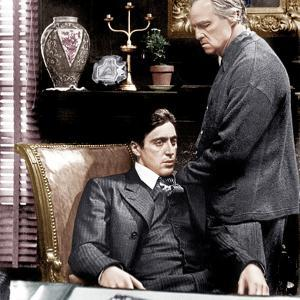 THE GODFATHER, from left: Al Pacino, Marlon Brando, 1972