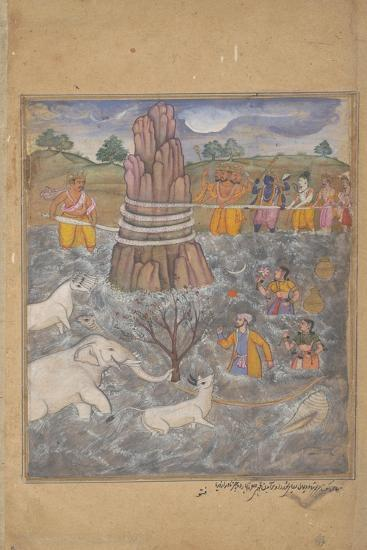 The Gods and Asuras Churn the Ocean of Milk, Page from a Dispersed Razmnama, C.1598-99--Giclee Print