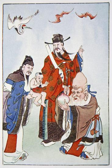 The Gods of Happiness, Office and Longevity, 1922-Unknown-Giclee Print