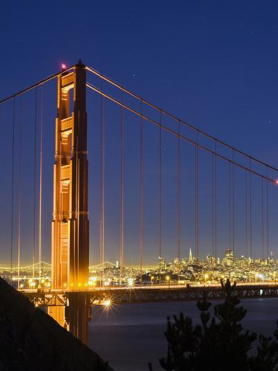 The Golden Gate Bridge and San Francisco at Night-James Forte-Photographic Print