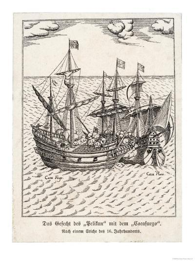 """The Golden Hind and the Spanish Ship """"Cacafuego"""" Have an Aggressive Encounter--Giclee Print"""