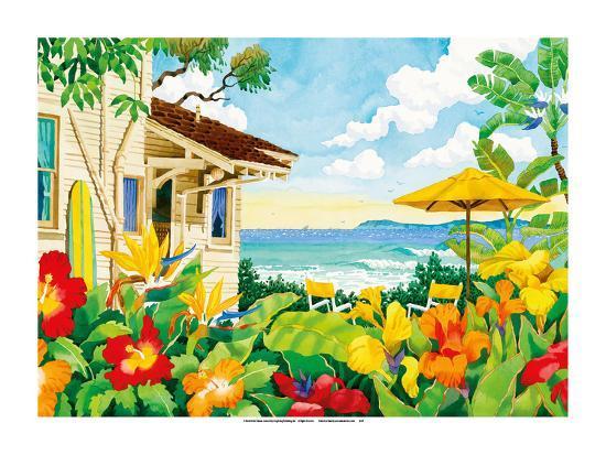 The Good Life - Tropical Beach House - Hawaii - Hawaiian Islands-Robin Wethe Altman-Premium Giclee Print