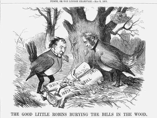 The Good Little Robins Burying the Bills in the Wood, 1858--Giclee Print