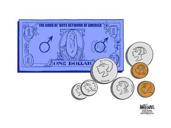 The Good Ol' Boys Network of America.  One Dollar.-Ann Telnaes-Art Print