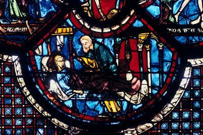 The Good Samaritan Cares for the Pilgrim, Stained Glass, Chartres Cathedral, France, 1205-1215--Photographic Print