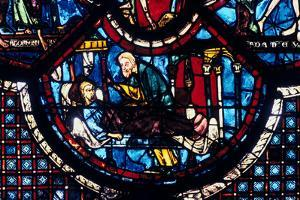 The Good Samaritan Cares for the Pilgrim, Stained Glass, Chartres Cathedral, France, 1205-1215