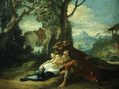 The Good Samaritan - Samaritan Helping Wounded Robbed Man-Domenico Fontebasso-Giclee Print