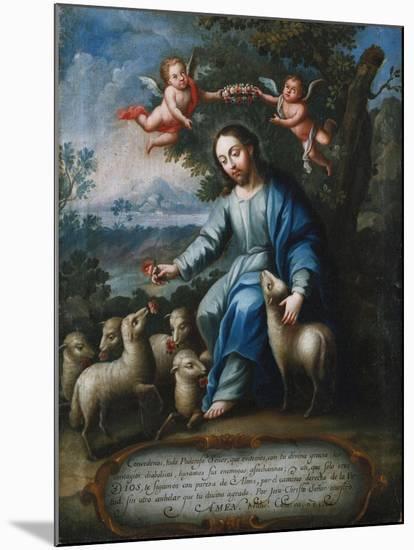 The Good Shepherd, El Buen Pastor, 1765-Miguel Cabrera-Mounted Giclee Print
