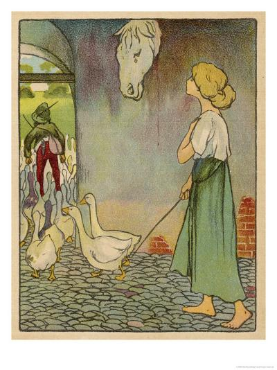 The Goose Girl Looks up at a Horse's Head Hanging on the Wall-Willy Planck-Giclee Print