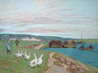 The Goose Girl-Alfred Sisley-Giclee Print