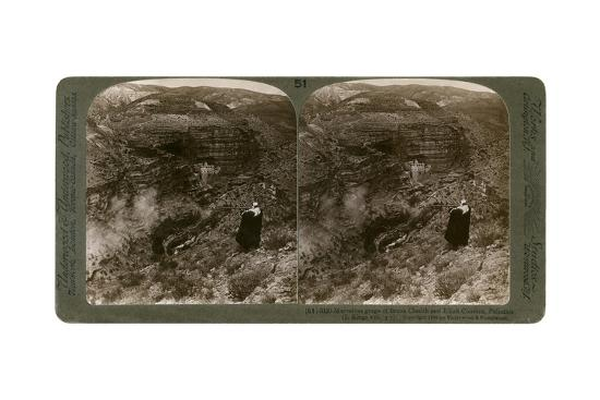The Gorge of Brook Cherith and Elijah Convent, Palestine, 1890-Underwood & Underwood-Giclee Print