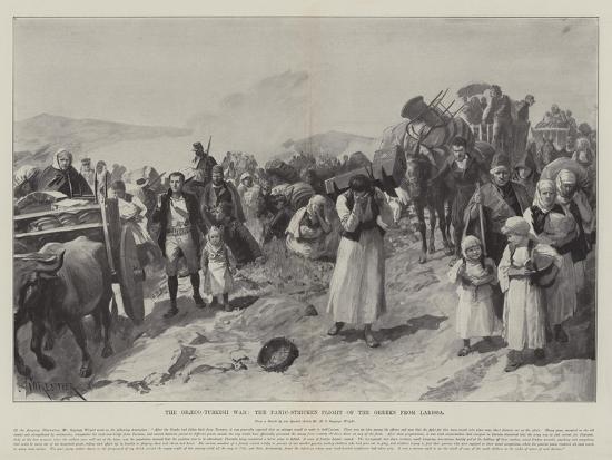 The Graeco-Turkish War, the Panic-Stricken Flight of the Greeks from Larissa-Amedee Forestier-Giclee Print