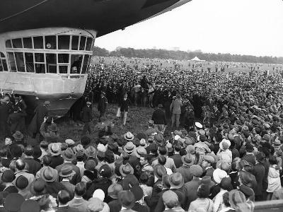 The Graf Zeppelin Airship at Hanworth Aerodrome Surrounded by Onlookers, 1931--Photographic Print
