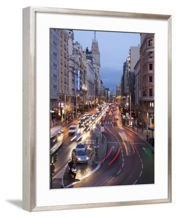 The Gran Via at Dusk, Madrid, Spain, Europe-Angelo Cavalli-Framed Photographic Print