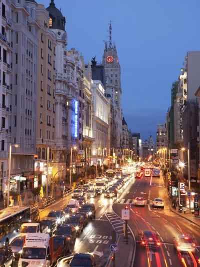 The Gran Via at Dusk, Madrid, Spain, Europe-Angelo Cavalli-Photographic Print