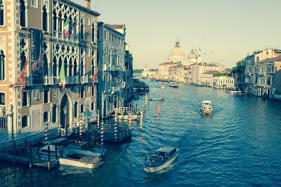 The Grand Canal and the Domed Santa Maria Della Salute, Venice, Veneto, Italy, Europe-Amanda Hall-Photographic Print