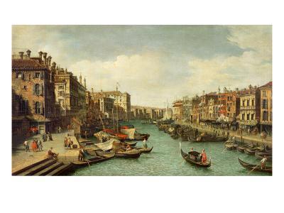 The Grand Canal Near the Rialto Bridge, Venice, C.1730-Canaletto-Giclee Print