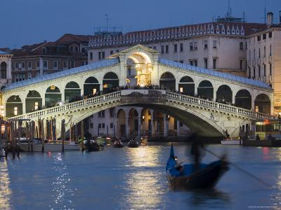 The Grand Canal, the Rialto Bridge and Gondolas at Night, Venice, Veneto, Italy-Christian Kober-Photographic Print