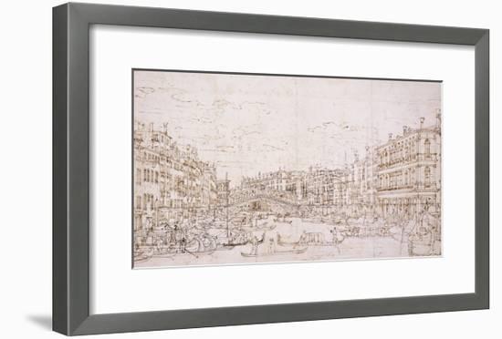 The Grand Canal, Venice, with the Rialto Bridge from the South-Bernardo Bellotto-Framed Giclee Print