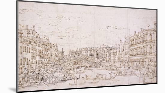 The Grand Canal, Venice, with the Rialto Bridge from the South-Bernardo Bellotto-Mounted Giclee Print