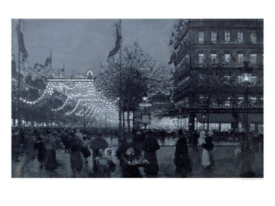 The Grands Boulevards, Paris, Decorated for the Celebration of the Franco-Russian Alliance in 1893-Luigi Loir-Giclee Print