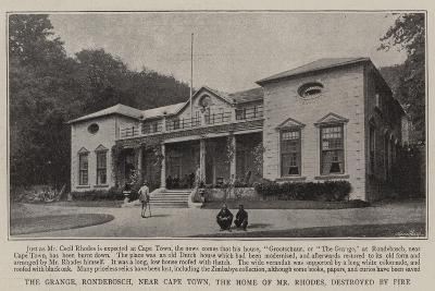 The Grange, Rondebosch, Near Cape Town, the Home of Mr Rhodes, Destroyed by Fire--Giclee Print