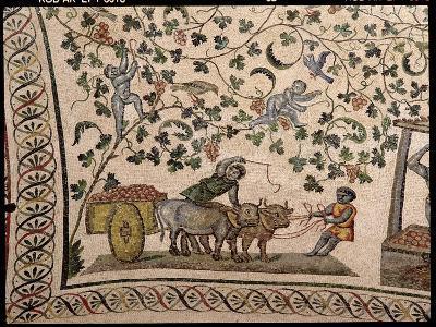 The Grape Harvest (Mosaic)-Roman-Giclee Print