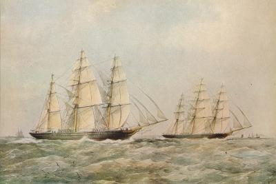 The Great China Race. The Clipper Ships Taeping and Ariel passing the Lizard, Cornwall, 1866-Thomas Goldsworth Dutton-Giclee Print