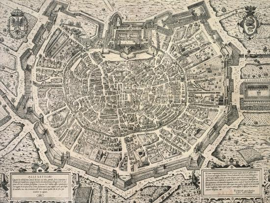 The Great City of Milan, Copperplate 1573-Antonio Lafrery-Giclee Print