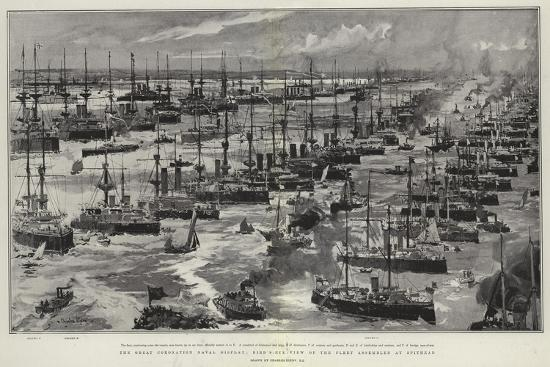The Great Coronation Naval Display, Bird'S-Eye View of the Fleet Assembled at Spithead-Charles Edward Dixon-Giclee Print