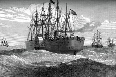 The Great Eastern Playing Out the Atlantic Telegraph Cable, C1865--Giclee Print