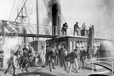 The 'Great Eastern' Recovering the Lost Atlantic Cable, 1866-Robert Dudley-Giclee Print
