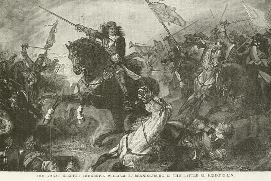 The Great Elector Frederick William of Brandenburg in the Battle of Fehrbellin--Giclee Print